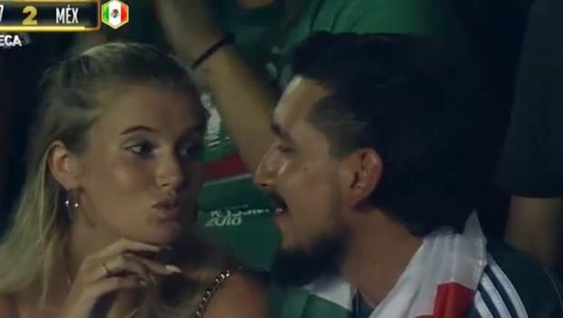 """Imaginile care fac inconjurul lumii: si-a dus iubita la meci, iar reactia ei e virala! """"Scuze, draga, dar a dat Mexic gol!"""" :))"""