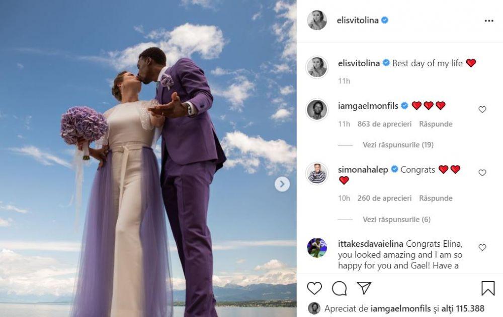 Faceti cunostinta cu domnul si doamna Monfils! Gael a facut show pe ringul de dans la propria nunta, iar Elina a fost felicitata de Simona Halep