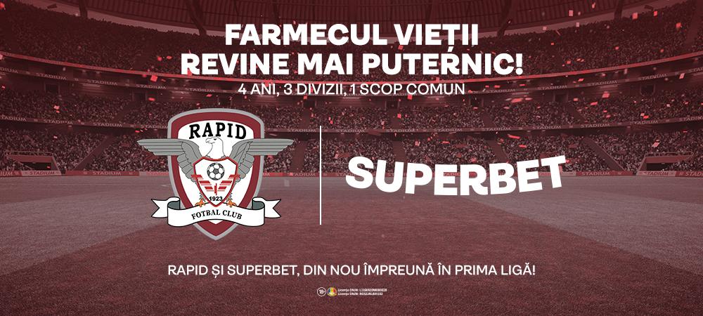 (P) 4 ani, 3 divizii, un parteneriat: Rapid si Superbet, din nou impreuna in prima liga!