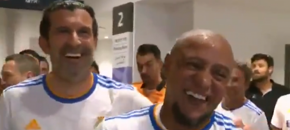 """""""Așa ceva nu se face!"""" :)) Luis Figo l-a """"lucrat"""" pe Roberto Carlos la meciul legendelor! Imagini fabuloase"""