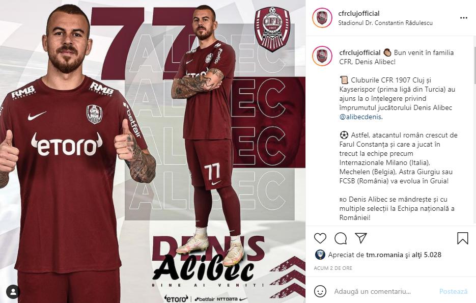 CFR Cluj l-a prezentat pe Denis Alibec: