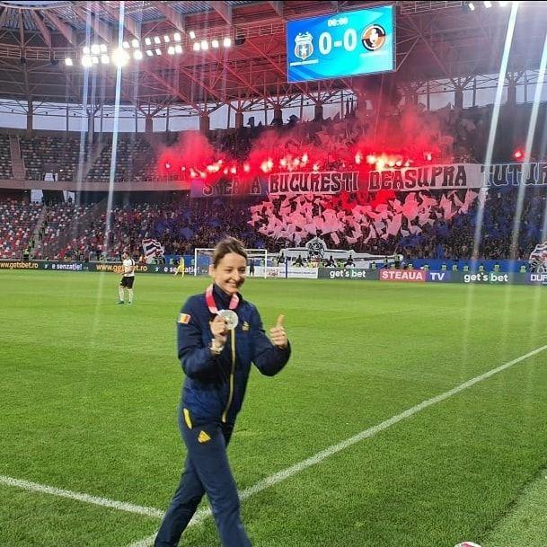 Ana Maria Popescu Brânză, prezență de lux în Ghencea! Spadasina a dat lovitura de start în meciul cu Csikszereda