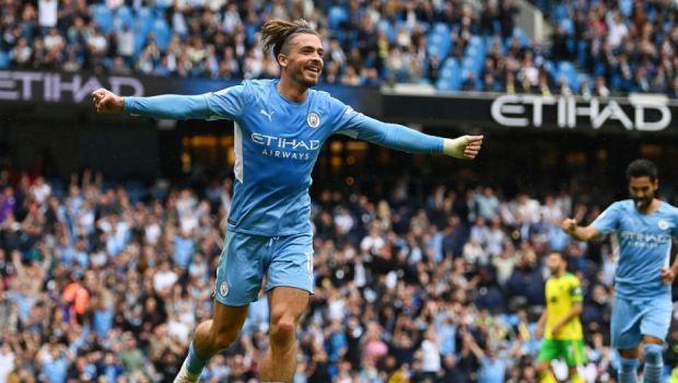 VIDEO Spectacol pe Etihad, după înfrângerea cu Tottenham. City, cinci goluri cu Norwich. Grealish, printre marcatori