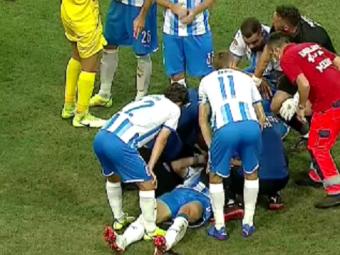 Momente dramatice la Craiova! Mateiu, plin de sânge, este scos de pe teren cu ambulanța