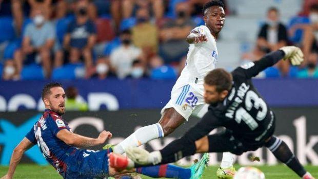 """Blockbuster în La Liga! Levante - Real Madrid 3-3, gazdele au terminat meciul cu un fundaș în poartă. Vinicius, """"dublă"""""""