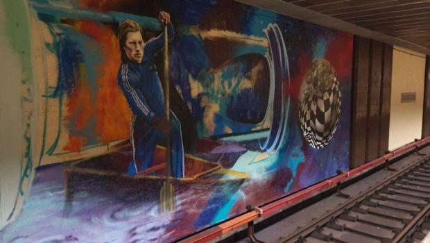 Graffiti uriaș cu Ivan Patzaichin, la stația de metrou de lângă stadionul Dinamo!